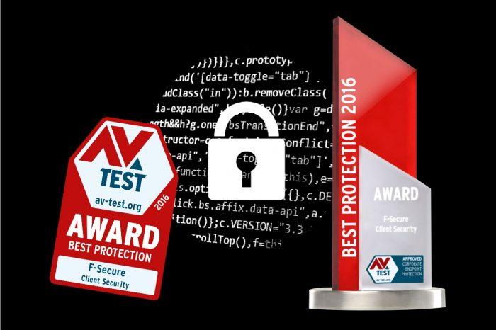 """F-Secure po raz piąty z nagrodą """"Best Protection"""" - przyznawaną przez niezależny instytut AV-TEST za rok 2016."""