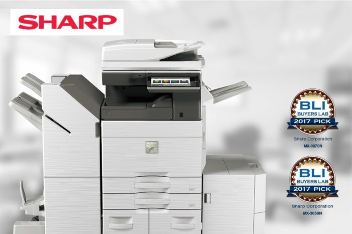 """Sharp - powiększającą się serią kolorowych urządzeń wielofunkcyjnych MX, otrzymała indywidualne nagrody Buyers Laboratory """"Pick""""."""