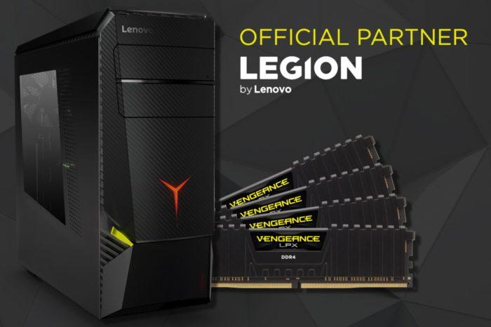 Nowy Lenovo Legion Y920 Tower efektem współpracy Lenovo™ i CORSAIR®- z opcjonalną pamięcią DDR4 do przetaktowywania CORSAIR VENGEANCE LPX.