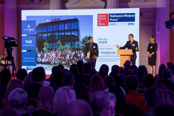 Cisco najlepszym miejscem do pracy w Polsce - Polski oddział firmy Cisco zajął pierwsze miejsce w ranking Great Place to Work, w kategorii firm zatrudniających więcej niż 500 osób.