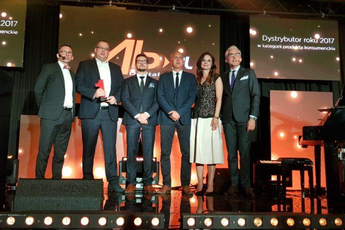 """AB S.A. podczas uroczystej gali LENOVO TOP PARTNERS AWARD 2018 został wyróżniony nagrodą """"Dystrybutora Roku 2017"""" w kategorii produkty konsumenckie."""