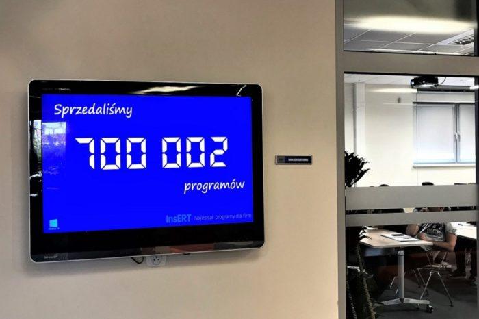 InsERT S.A., lider rynku oprogramowania dla małych i średnich firm, ustanawia nowy rekord - sprzedał łącznie 700 tys. licencji własnych programów.