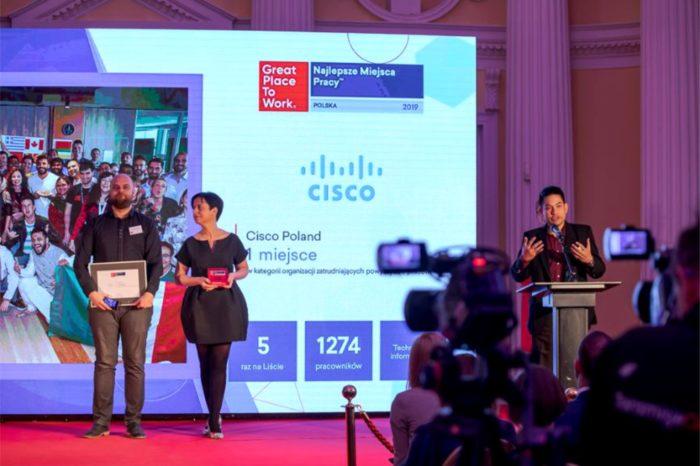 Cisco ponownie najlepszym miejscem do pracy w Polsce - Polski oddział firmy Cisco zajął pierwsze miejsce w rankingu Great Place to Work 2019, w kategorii firm zatrudniających więcej niż 500 osób.