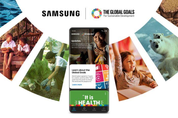 Samsung w ramach partnerstwa z Programem Narodów Zjednoczonych udostępnia aplikację Samsung Global Goals, aby zwiększyć świadomość i pomóc w realizowaniu Celów Zrównoważonego Rozwoju.