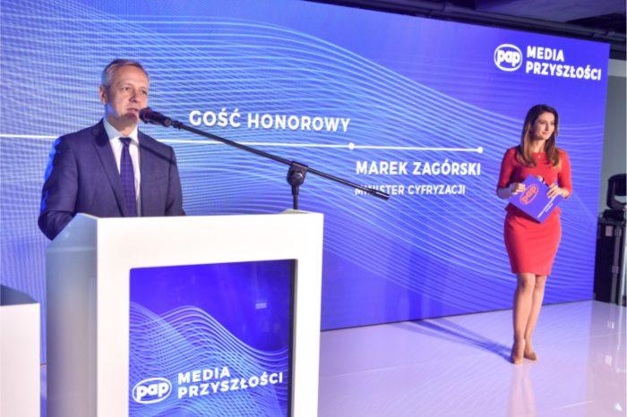 """""""Dobre prawo jest warunkiem tego, aby media mogły dobrze funkcjonować."""" podkreślił minister cyfryzacji, Marek Zagórski podczas konferencji """"Media Przyszłości"""", zorganizowanej Polską Agencję Prasową."""