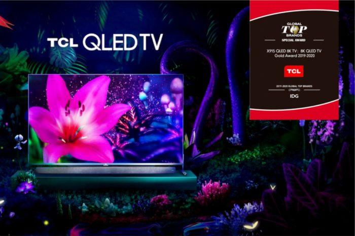 """TCL Electronics z nagrodą """"8K QLED TV Gold Award 2019-2020"""" za serię telewizorów premium X91 od International Data Group (IDG) podczas CES 2020."""